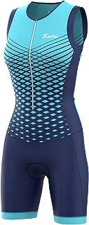 KONA Team 女士铁人三项比赛服 - 快装紧身裤 紧身裤 三件套无袖 - 一件式背心和短款组合,体型透气