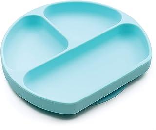 Bumkins 硅胶握盘,吸盘,分隔板,婴儿学步板,不含BPA,可使用微波炉洗碗机清洗—蓝色