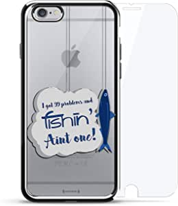 镀铬系列 360 套装:设计师手机壳 + 钢化玻璃 适用于 iPhone 6/6s PlusLUX-I6PLCRM360-FISH2 99 Problems Fishing Quote 银色