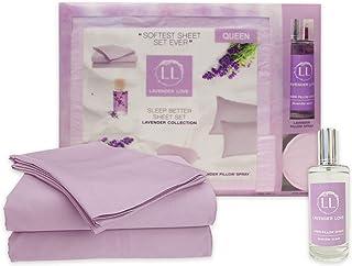 Signature 酒店系列薰衣草之爱 - 超柔软床单套装和*体验薰衣草枕头喷雾搭配缎面眼罩*套装 紫色(Lavender) Queen