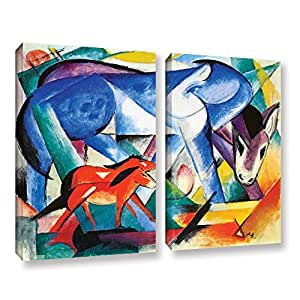 "ArtWall Franz Marc's the First Animals 2 Piece Gallery Wrapped Canvas Set, 36"" x 48"""