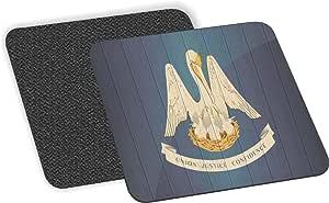 Rikki Knight 路易斯安那州旗仿旧木设计柔软方形啤*杯垫(2 件套),多色