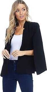A+D 女式编织结构披风夹克西装外套带口袋