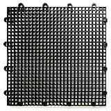 DuraGrid ST12BLAK 舒适瓷砖互锁模块化多用途*地板床垫,12 包,黑色,件