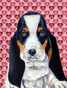 Caroline's Treasures LH9149GF Basset Hound Hearts Love and Valentine's Day Portrait Flag, Small, Multicolor