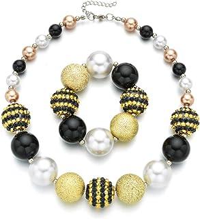 W WOOGGE 女孩万圣节服装首饰套装派对角色扮演串珠项链手链适合少女