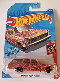 Hot Wheels 2020 Hw Flames '64 雪佛兰 Nova 四轮车,橙色 141/250