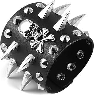 HZMAN 男士哥特式骷髅手链,宽袖口,皮革金属铆钉,可调节皮革腕带