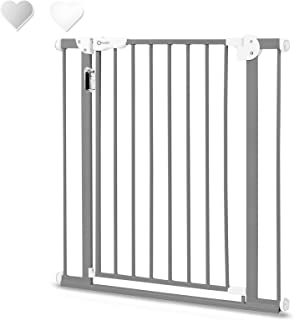 Lionelo Truus Slim 带 LED 灯楼梯保护栏 无钻孔 门护栏 婴儿门栅 用于夹紧 宽度 75 至 105 厘米 灰色
