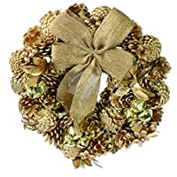 彩か【SAIKA】 CGX-R10M Ribbon Wreath -Gold & Leaves M