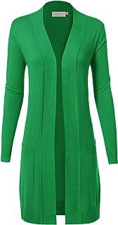 MAYSIX APPAREL 长袖长线针织毛衣前开开襟开衫 W/口袋女士 (S-XL)