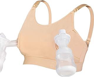 免提吸奶文胸,Momcozy 可调式吸奶器固定和哺乳文胸,适合Medela,Lansinoh,Philips Avent,Spectra,Evenflo 等(皮肤) 皮肤色 中
