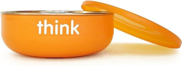 ThinkBaby 浅型不含BPA儿童碗 银色/橙色