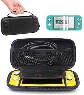 Iplay 任天堂 Switch lite 手提包,6 合 1 套装,8 个游戏盒,硬壳旅行包,适用于 Switch Lite 游戏控制台和配件,黑色