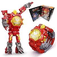 变形机器人手表2合1,数字电子变形手表机器人适合3岁以上儿童,可调节表带
