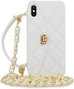 Omio iPhone Xs Max 手提包带卡夹手腕挂绳软硅胶套,适用于 iPhone Xs Max 女士钱包式奢华时尚长珍珠斜挎链套,适用于 iPhone Xs MaxJL443-6 iPhone XS Max 白色