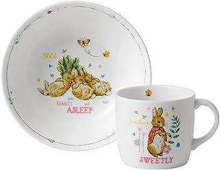 Wedgwood 40034091 兔子Peter印花托儿所2件套,陶瓷碗和杯子,粉色
