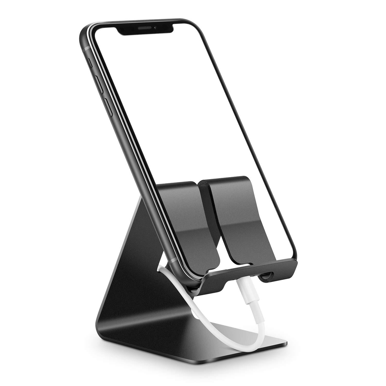 Verigle電話ホルダーを、アルミニウムシステムテーブルの受話器ベース電話ホルダー互換10.16〜20.32センチメートルiPhoneのX XR X 7 8 6 6SプラスSE 5つの5S、タブレット、すべてのAndroidスマートフォン