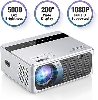 便携式电影投影仪,SAMMIX 5000 Lux LED 家庭影院液晶视频投影仪,1080P 全高清支持 200 英寸显示屏,兼容电视棒、笔记本电脑、PS4、HDMI、VGA 、TF、AV 和 USB 白色