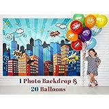 *英雄派对用品 Pinata 道具背景 - DC *英雄女孩和男孩生日装饰礼物 - 6.2 X 4.8 英尺城市风景摄影派对城市 - 免费 20 种颜色 气球 6.2 x 4.8 Feet 蓝色