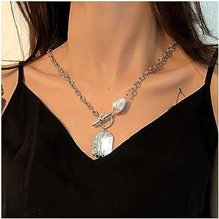Campsis 时尚项链硬币吊坠项链银短链珍珠项链项链首饰适合女士和女孩