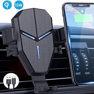 無線車載充電器支架,Quntis 15W 10W 7.5W Qi 快速充電車載支架自動夾式通風口手機支架重力支架兼容 iPhone 11/11 pro max/XS/XR/8 Galaxy S10/S9/S8/Note 10/10