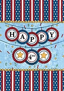 Toland Home Garden Happy Fourth 12.5 x 18-Inch Decorative USA-Produced Double-Sided Garden Flag