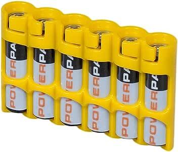 Powerpax Storacell SlimLine AAA 6 件装电池盒,橙色 Holds 6 Batteries SLAAACY