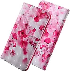 LEECOCO iPhone X 手机壳,iPhone Xs 手机壳 纤薄 3D 豪华印花 PU 皮革钱包式手机壳 翻转支架卡包 书式磁保护壳 适用于 iPhone Xs/X. BX] Cherry Flower BX-3D