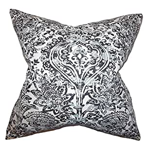 "The Pillow Collection Daija 花朵欧式枕套 灰色 灰色 Queen/20"" x 30"" QUEEN-pp-shiloh-coolgrey-c100"
