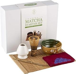 Mocha Chadao Matcha 传统茶具套装 — 紫色竹子 Whisk & 茶勺 — Matcha 碗 — 陶瓷蓝色鲸鱼盒 — 礼盒 — *好的日本火柴绿色茶具配件 红色 4335901571