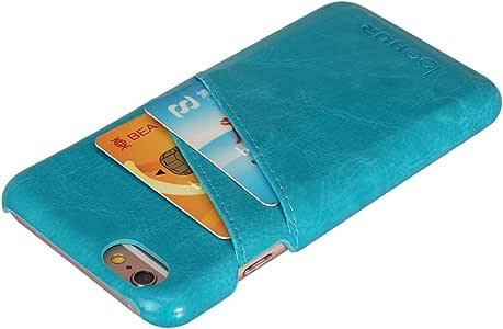 LeeHur iPhone 6 保护壳,合成皮革薄型钱包式手机壳带卡槽信用卡身份证,礼品盒包装LH-I6PBCBL iPhone 6 Plus/6S Plus 5.5inch 蓝色