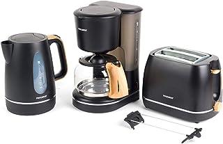 Progress® COMBO-5150 Scandi 2 片式烤面包机 咖啡机和水壶 带木效果 | 解冻、重新加热和取消功能 | 自动关闭 | 煮沸干燥传感器 | 黑色