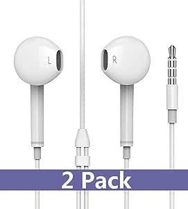 Lseasun 耳机带麦克风【2 件装】优质耳塞立体声耳机和隔音耳机专为苹果 iPhone iPod iPad 设计 -白色