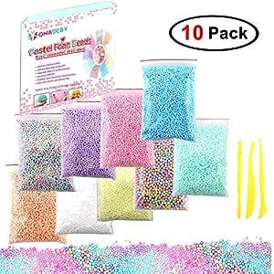 40 包 Mega Slime Making Kit 包括泡沫球、鱼缸珠、纤薄储物容器、水果切片、闪光摇晃罐、织布带、绒球、细长工具 Foam Ball Kit 10 Pack 43216-124046