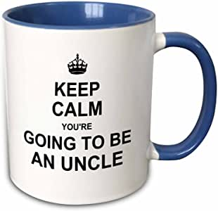 3dRose 马克杯_194462_6 Keep Calm You're to be an Uncle - future uncle - Family 字样礼物 - 双色蓝色马克杯,311.84 克