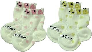 Baby Story 2双装 动物波点 新生儿袜子 7-9cm 6001-CP 不易脱落 日本制造 粉色