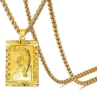 Xusamss 朋克珠宝镀 18K 金老虎狗牌吊坠项链,22 英寸(约 55.88 厘米)盒子链