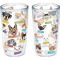 Tervis 扁平狗猫包裹 453.59 毫升玻璃杯,无盖,2 件装,透明