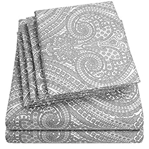 Sweet Home 系列 Paisley 灰色 全部 6 Piece 1500 Thread Count Egyptian