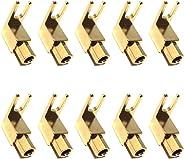 CESS 直角铲形叉子和装订柱 - 4mm 香蕉插头插座 - 铲形叉连接器适用于扬声器、电源和安培(jcx)(10 个装)