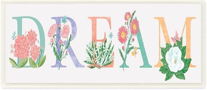 The Stupell 家居装饰系列花卉梦想排版拉伸帆布墙艺术 多种颜色 7 x 17 mwp-423_wd_7x17