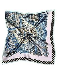 米色蓝色佩斯利印花厚实小丝绸方形围巾