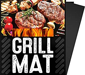 """Nelife-3PCS A SET BBQ Grill Sheets Mat ,100% Non Stick Safe ,Extra Thick,Reusable and Dishwasher BBQ Barbecue 黑色 13"""" x 15.75"""""""