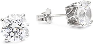 Myia Passiello Myia Passiello 精品银色圆形切割方晶锆石 9.74 克拉耳钉