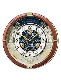 セイコークロック 置き時計?掛け時計 茶メタリック 39×39×9.6cm アナログ からくり トリプルセレクション メロディ RE601B