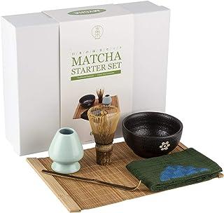 Mocha Chadao Matcha 传统茶具套装 — 紫色竹子 Whisk & 茶勺 — Matcha 碗 — 陶瓷蓝色鲸鱼盒 — 礼盒 — *好的日本火柴绿色茶具配件 绿色 4335465959