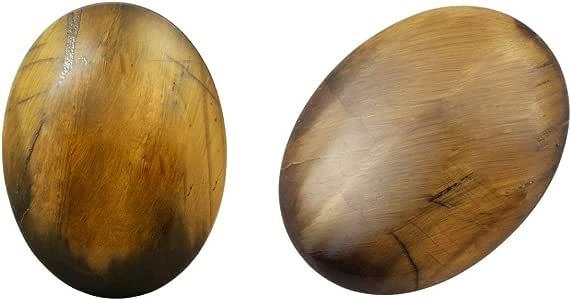 "SUNYIK 天然滚磨石,水晶按摩手掌烦恼口袋石材各式各样 Oval Tiger's Eye Stone 1.7"", Pack of 2 SUNGDM000609_2"