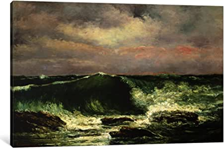 iCanvasART 15055-1PC3-26x18 Waves Canvas Print by Gustave Courbet, 0.75 by 26 by 18-Inch