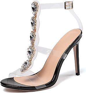 YODEKS 女式透明踝带细高跟透明角斗士水钻 T 形绑带镂空凉鞋